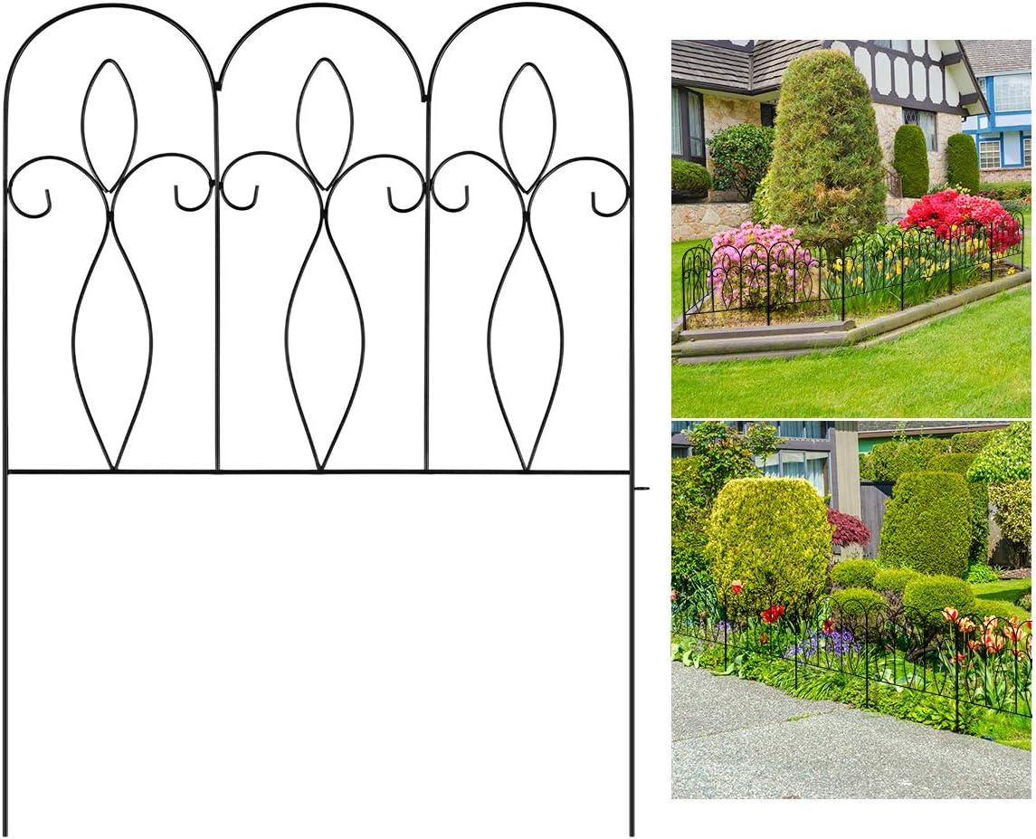 Sunix Decorative Garden Fence 32in x 10 ft Outdoor Coated Metal Folding Garden Fencing Garden Border Edging Fence Set Wire Folding Fencing for Landscaping, Garden Fence Animal Barrier, 5 Pieces, Black