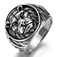 Stainless Steel Ring for Men, Lions Head Ring Gothic Black Band Epinki