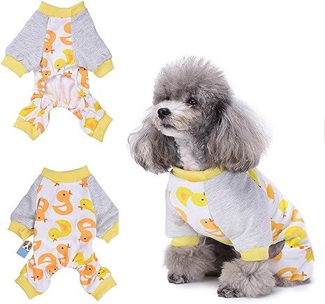 HongyH - Pijama para perro, diseño de pato amarillo, cómodo pijama para cachorro, suave, 100 % algodón, para perros pequeños y gatos