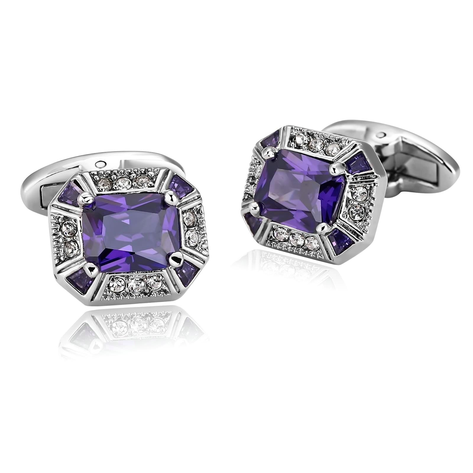 KnSam Stainless Steel Silver Purple Elegant Large Cut Crystal Rectangle Cufflinks for Mens