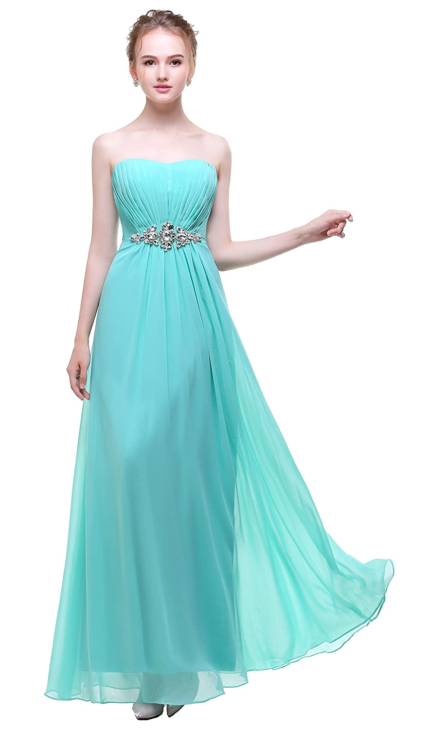 Esovr Strapless Chiffon Long Evening Gowns Bridesmaid Prom Dresses Mint Green 4 at Amazon Womens Clothing store:
