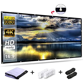 Accessories 16:9 HD 4K No Crease Portable Projector Movie Screen Grommets for Home Theater Outdoor Ylife 120 Inch Projector Screen