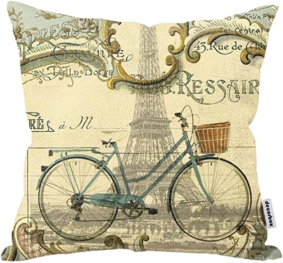 Decorbox Vintage Bike Throw Pillow Case Bicycle Cushion Cover Pillowcase Gift Anniversary Cushion Covers Paris Eiffel Tower Home Kitchen