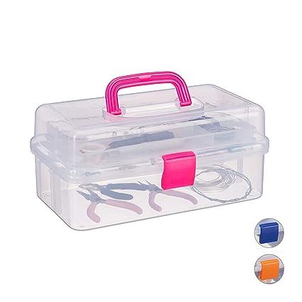 Relaxdays Estuche de plástico, Organizador con Nueve Compartimentos, Asas, Cierre Click, Rosa, 14 x 33 x 19 cm
