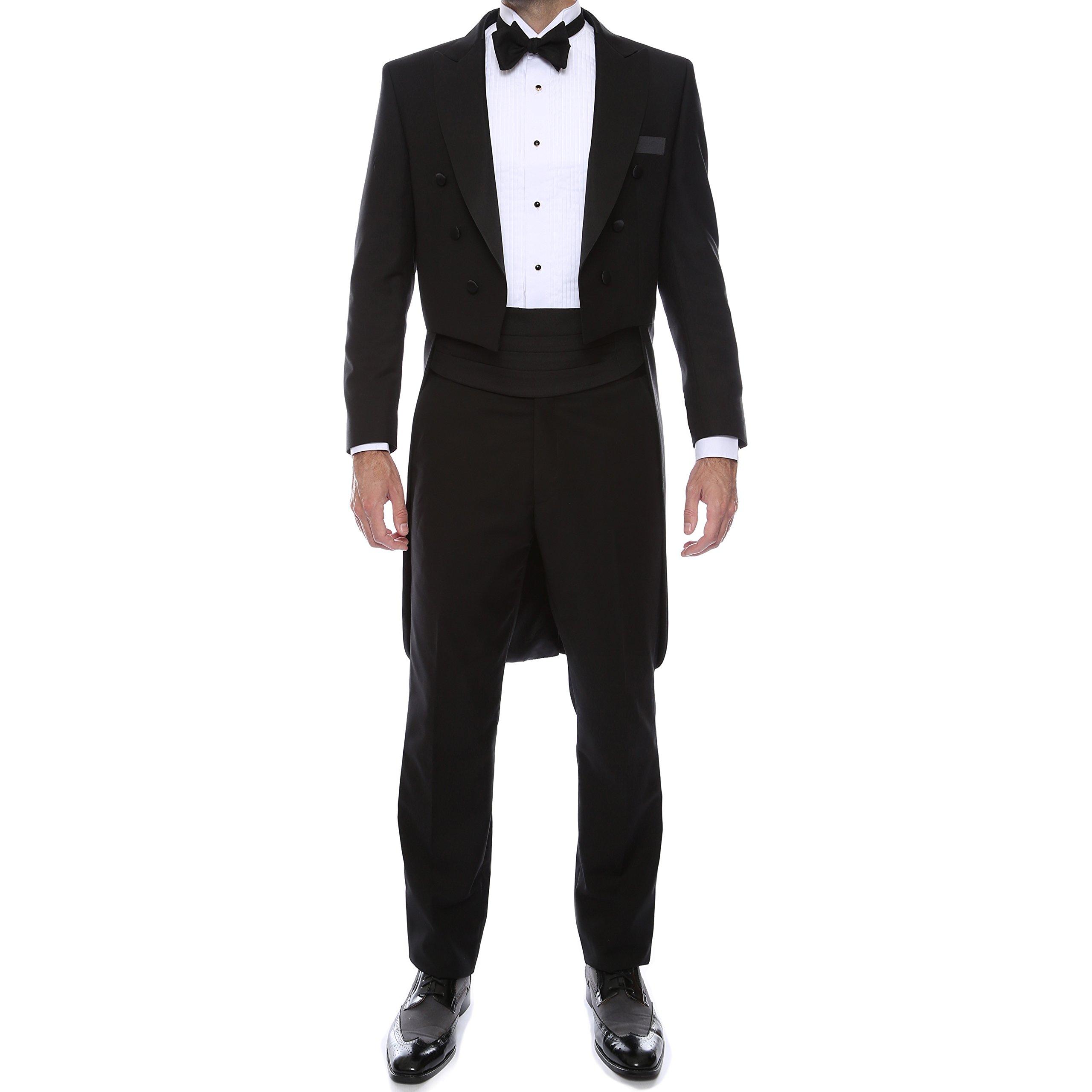 44R Ferrecci Black 2pc Regular Fit Tail Tuxedo by Ferrecci