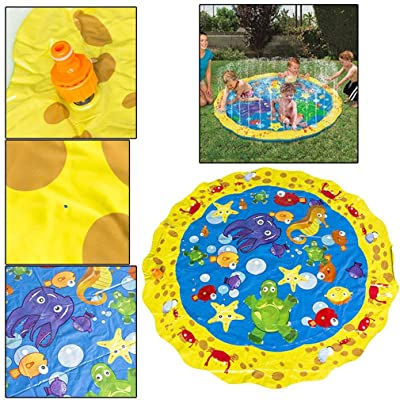 """Sprinkler for Kids, Children's Sprinkler Pool,Outdoor Swimming Pool for Babies and Toddlers,Splash Pad, Outdoor Inflatable Sprinkler Water Toys, Wading and Learning, 39"""" Kiddie Water Play Mat Toys: Toys & Games"""