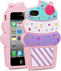 BEFOSSON Cute Ice Cream Phone Case for iPhone 4 / iPhone 4S, 3D Cartoon Adorable Pink Cupcake Girls Kids Teens Soft Silicone Rubber Ice Cream Phone Cover Case for iPhone 4 / iPhone 4S (4.0 inches)