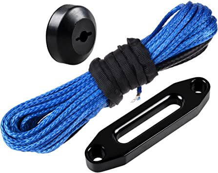 50 x 1//4 Gray Synthetic Winch Rope Cable w//Rubber Stopper Hawse Fairlead For Recovery Car ATV UTV Jeep Ramsey KFI Car