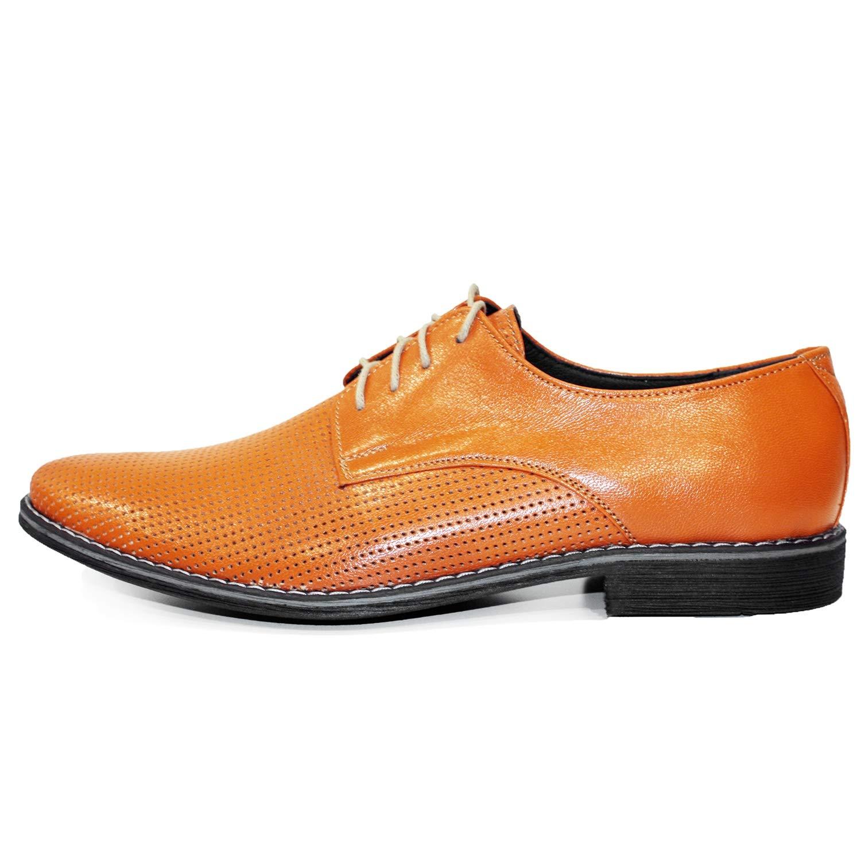 Modello Pomarone - Handgemachtes Italienisch Leder Herren Orange Oxfords Oxfords Oxfords Abendschuhe Schnürhalbschuhe - Rindsleder Geprägtes Leder - Schnüren 1d6104