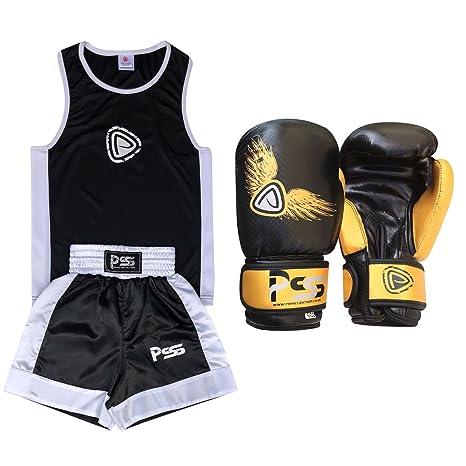 7ed28c885b PRIME Set da Boxe Completo per Bambini Uniforme 2 Pezzi con Canotta &  Pantaloncini Bianco-