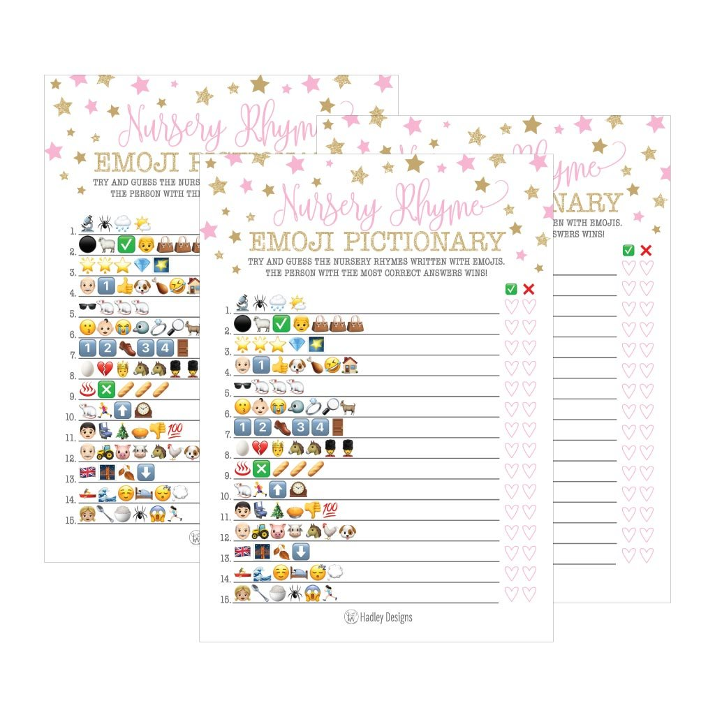 25 Pink Emoji Nursery Rhyme Baby Shower Game Party Ideas For Pictionary Quiz, Girls Kids Men Women and Couples, Cute Classic Bundle Pack Set Gold Stars Gender Neutral Unisex Fun Coed Guessing Card