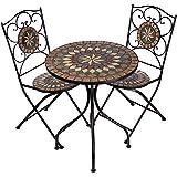 Hochwertiges aufwendig gearbeitetes Mosaik Tisch Set, NA1514-B33 + 32 stabiles Gartenmöbel Set, Balkonset, Bistroset, Schweres beschichtetes Metall, Wetterfest, Tisch und 2 Stühle
