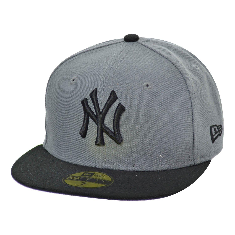 bffbc6b194d Amazon.com  New Era New York Yankees 59Fifty Men s Fitted Hat Cap Grey Black  10542731  Clothing
