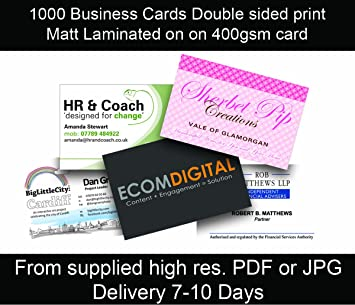 1000 business cards double sided on 400gsm matt lam amazon 1000 business cards double sided on 400gsm matt lam reheart Image collections