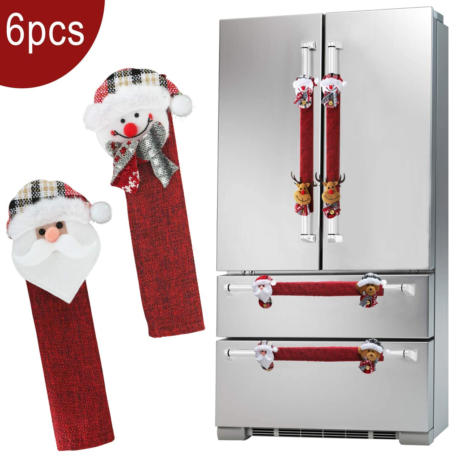 Christmas Refrigerator Door Handle Covers Set of 6, Santa Snowman Kitchen Appliance Handle Covers Fridge Microwave Oven Dishwasher Door Handle Protector Holiday Decorations