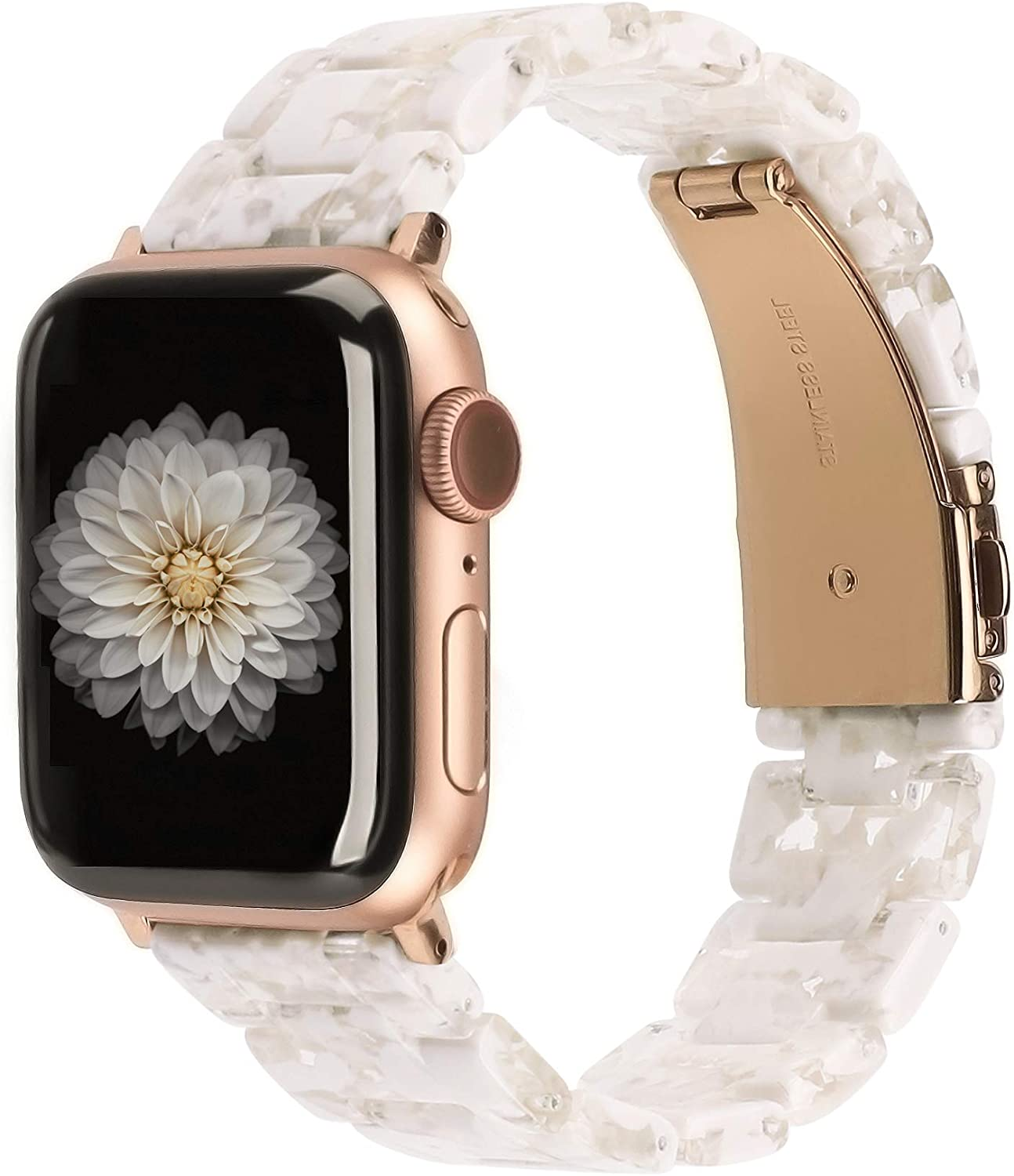 Wearlizer Compatible with Apple Watch Band 38mm 40mm Womens for iWatch SE Lightweight Resin Wristband Bracelet Mens Strap Series 6 5 4 3 2 1-(Deep Rose Gold+Floral White Clear, 38mm/40mm)