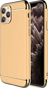 "iPhone 11 Pro Case,RORSOU 3 in 1 Ultra Thin and Slim Hard Case Coated Non Slip Matte Surface with Electroplate Frame for Apple iPhone 11 Pro (5.8"")(2019) - Gold"