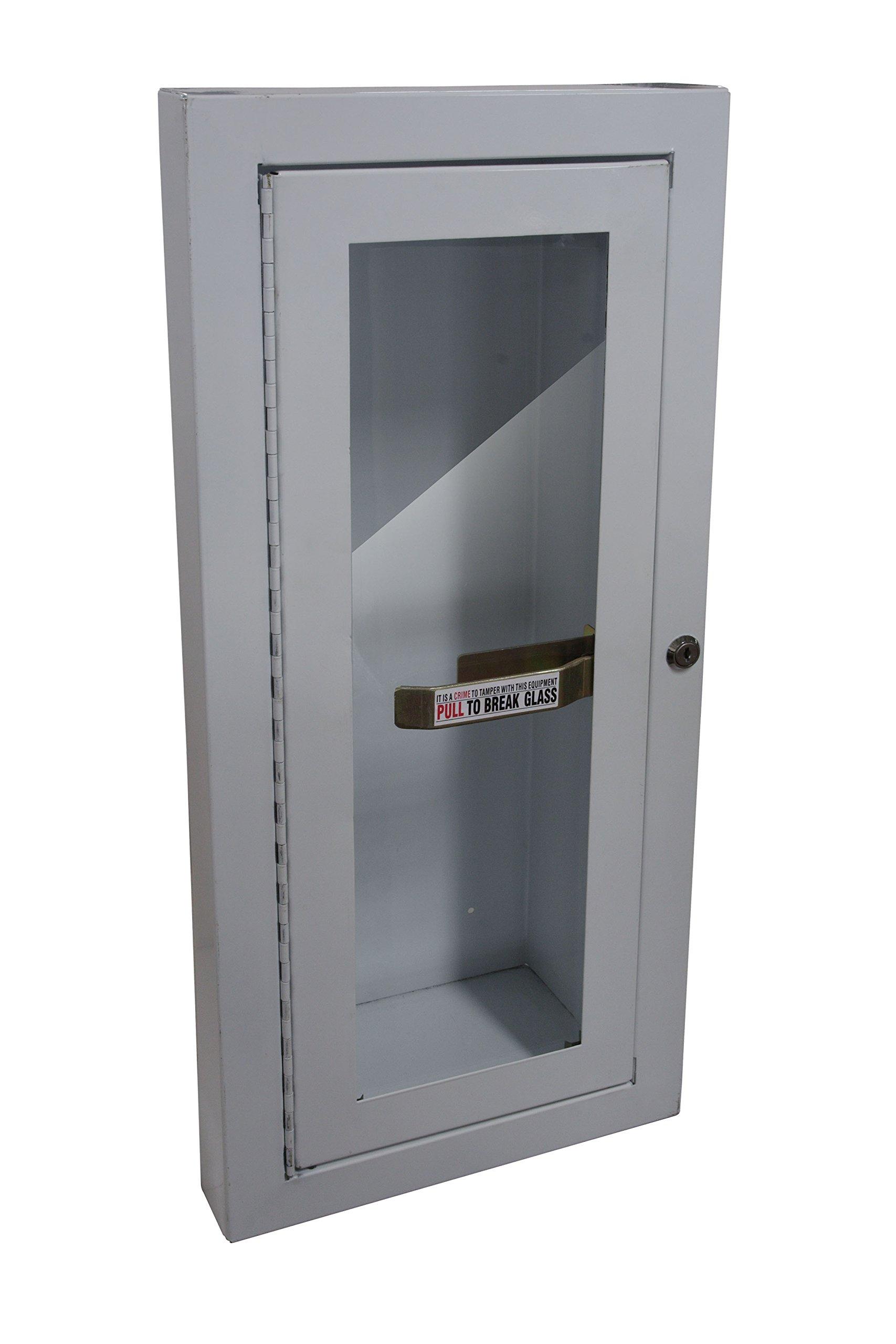 Sandusky Lee 8012-9 Fire Extinguisher Cabinet, Semi Recessed, 5 lb, White