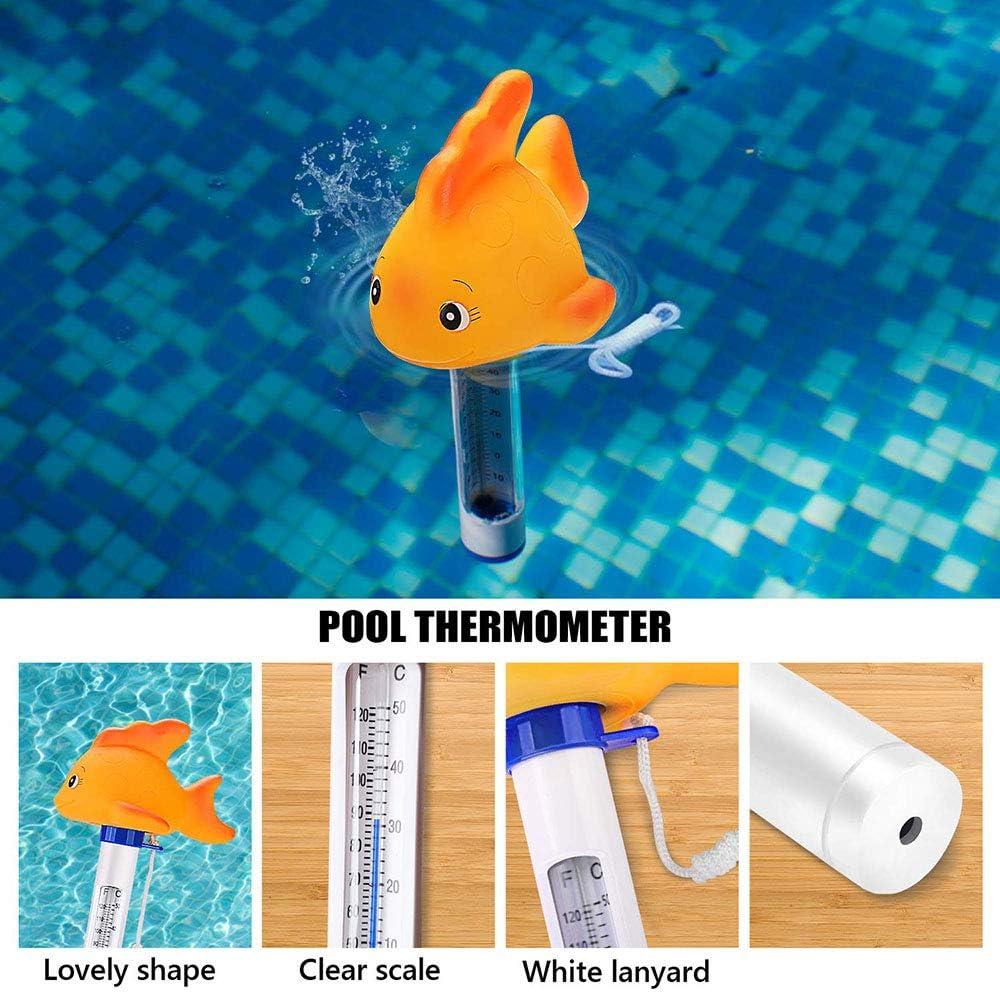 Cartoon-Design Badewanne Schwimmbad schwebendes Goldfischthermometer Fischteich Thermometer Promise2134 Schwimmbadthermometer Pool Tierform