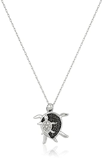 Amazon 10k white gold black and white diamond mother and baby 10k white gold black and white diamond mother and baby turtle pendant necklace 08 mozeypictures Images