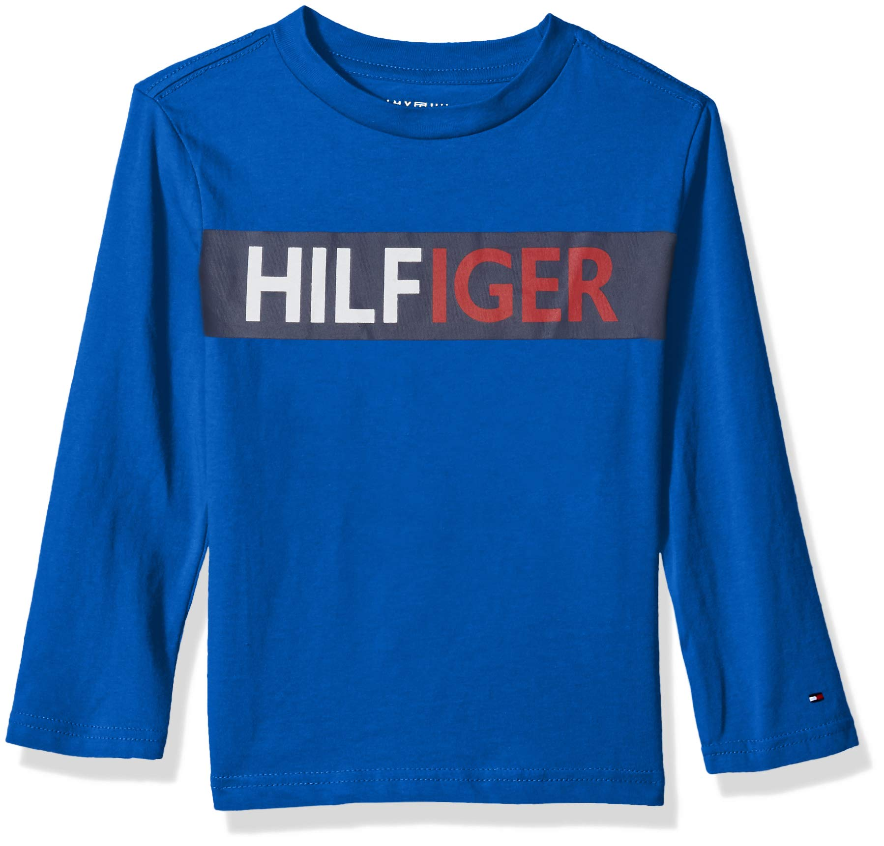 Tommy Hilfiger Big Boys' Dustin-Bex Jersey Long Sleeve Tee, Chest Victoria Blue L 16/18
