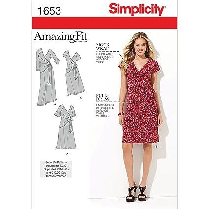 Amazon.com: Simplicity Amazing Fit Pattern 1653 Womens Knit Dress ...