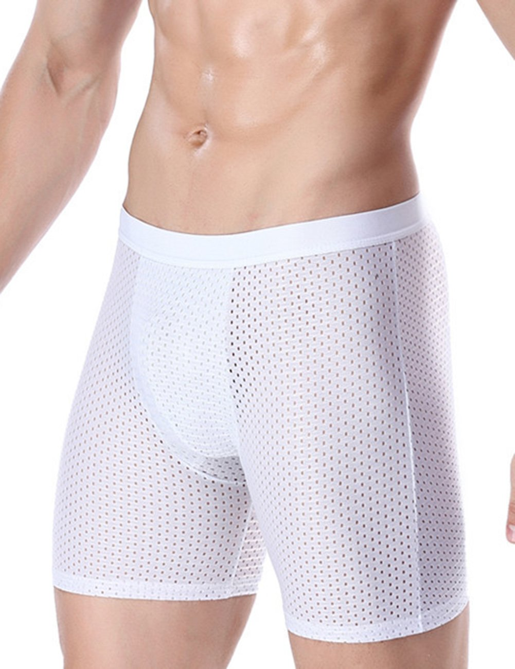 RONSHIN Male Ice Silk Lengthened Boxer Briefs Comfortable Mesh Lingerie Gift