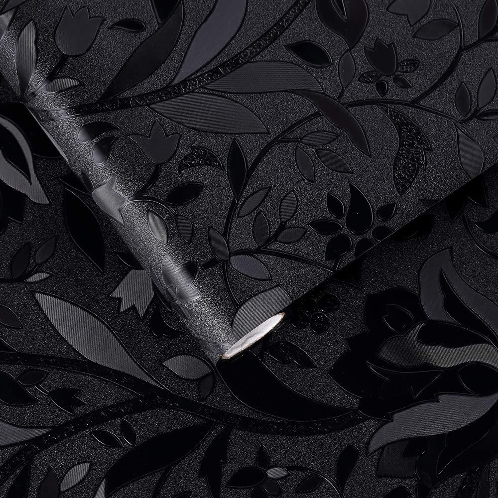 velimaxブラックアウトウィンドウフィルムStatic Clingウィンドウフィルムブラックウィンドウステッカーno glue Darkening部屋ブロック95 %ライト熱コントロールBlossoming花モチーフ、17.7
