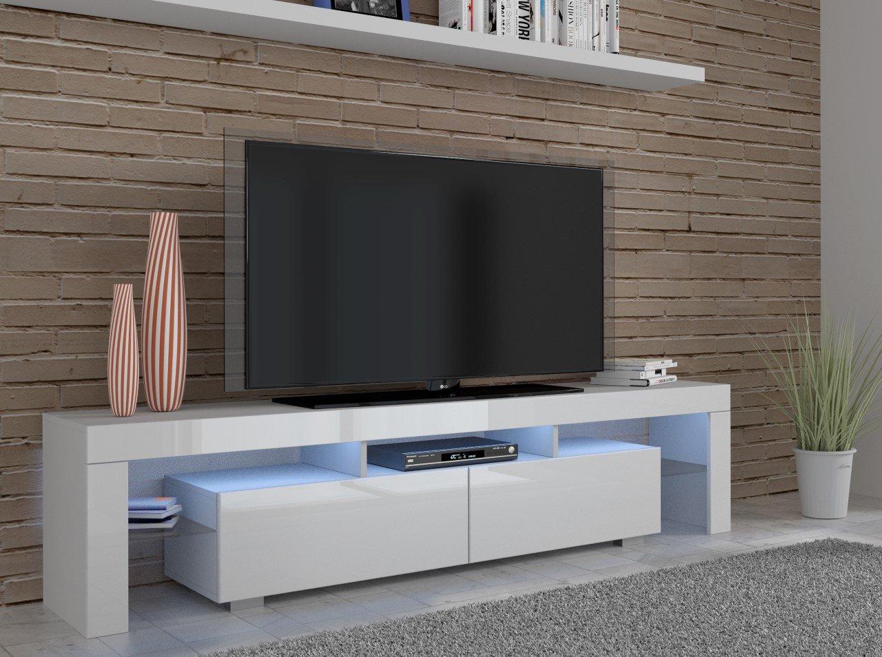 White High Gloss Tv Unit 190 Cm Wide Led Lights Co Uk