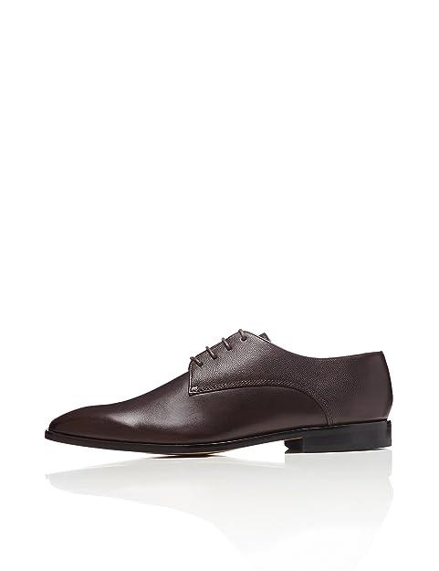FIND Zapato de Cordones Piel Grabada Para Hombre, Marrón (Dark Brown), 44 EU