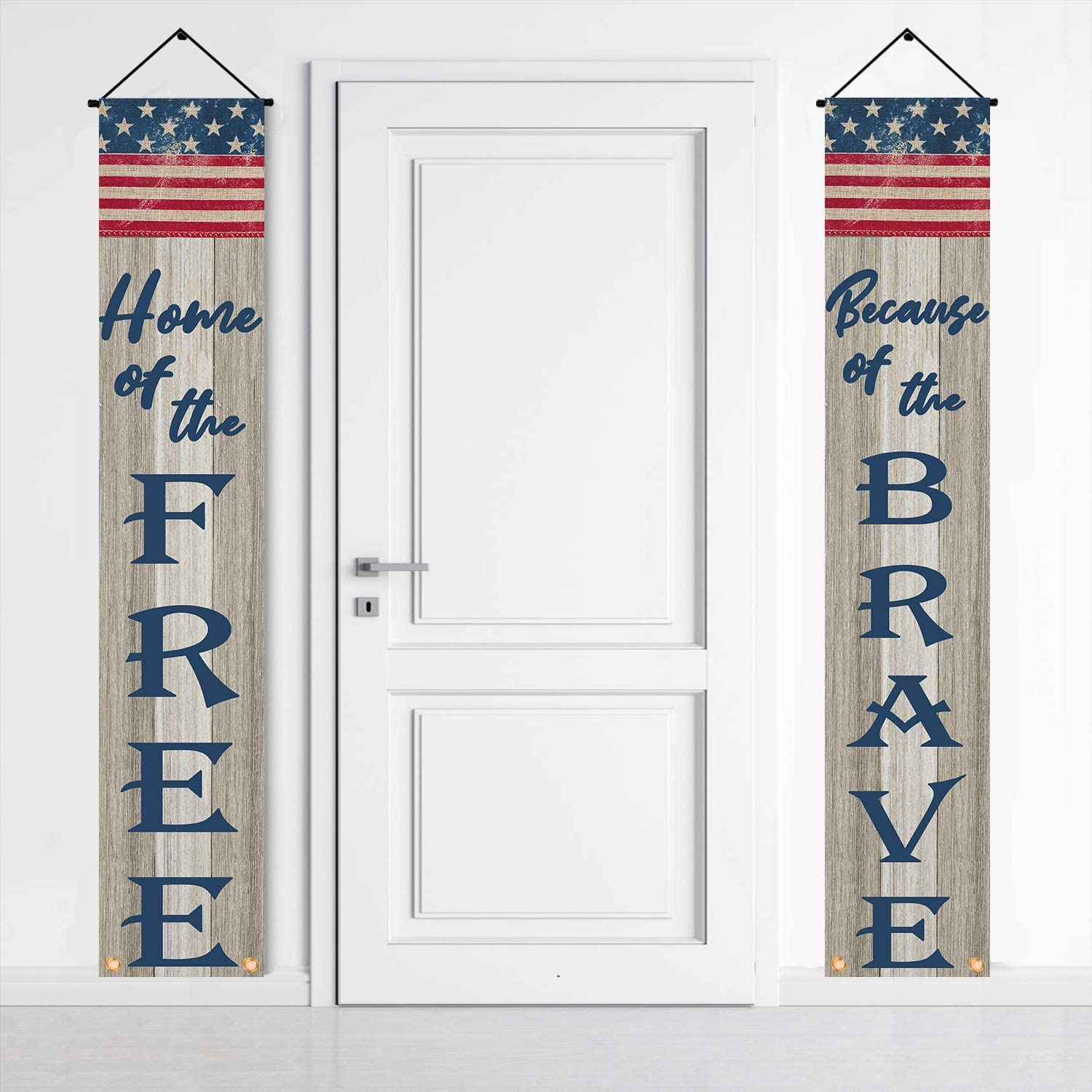 American Flag Home of The Free Because of The Brave Porch Sign Banners,Patriotic Decorations for 4th of July Veterans Day Memorial Day Yard Indoor Outdoor Decor