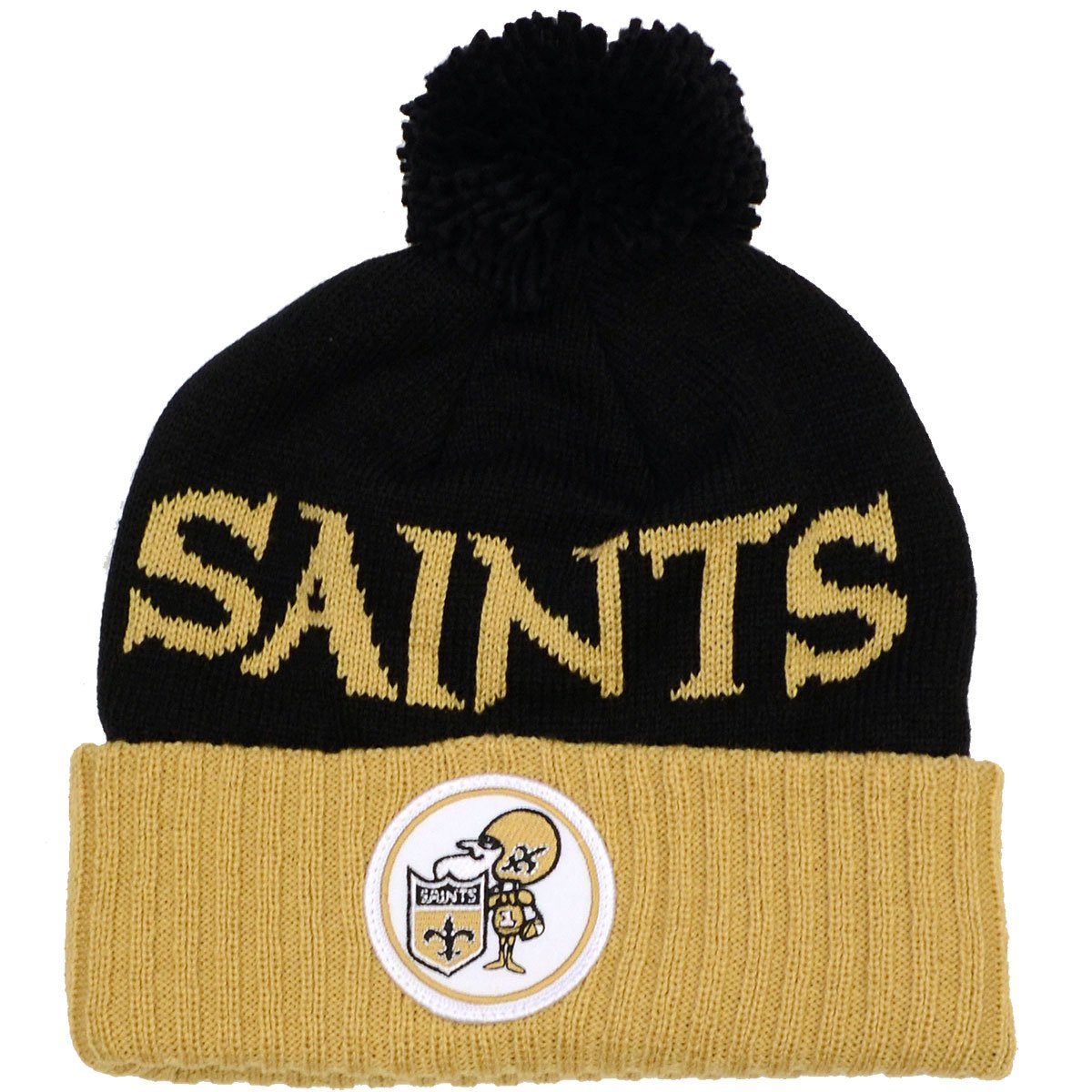 NFL Mitchell & Ness Throwback Cuffed Pomニット帽子  ニューオリンズセイント B005N3X33A