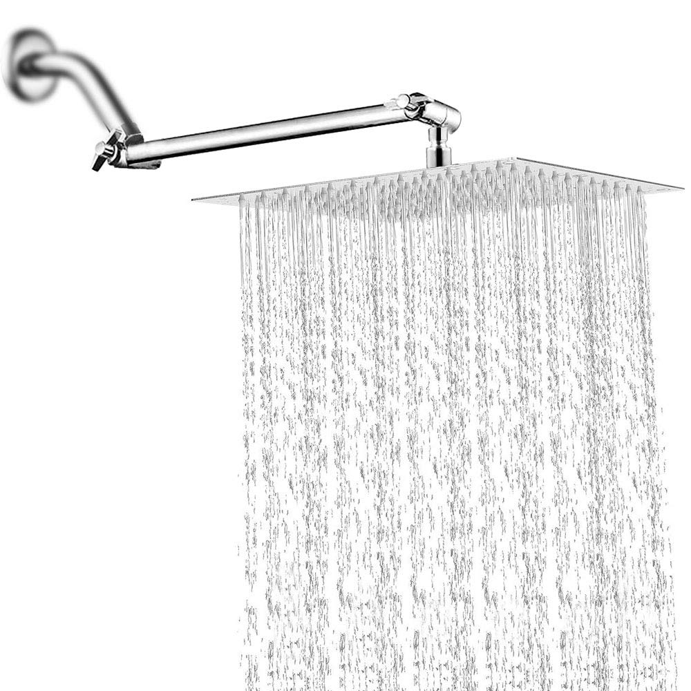 12 Inch Rain Shower Head with 11'' Adjustable Extension Arm, Large Stainless Steel Square Rainfall Showerhead,High Pressure Bath Shower Waterfall Full Body Coverage Easy to Clean and Install