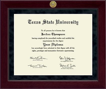 Amazon.com: Texas State University Millennium Gold Engraved Diploma ...