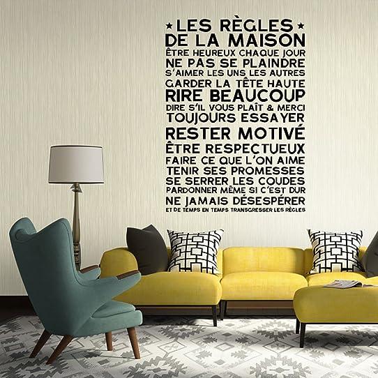 Français Regles De La Maison Sticker Mural Amovibles Art Vinyl