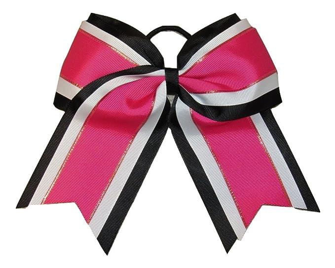"NEW /""SHIMMER Orange/"" Cheer Bow Pony Tail 3/"" Ribbon Girls Hair Bows Cheerleading"