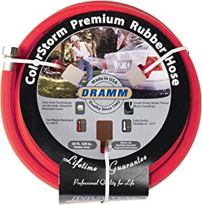 "Dramm 17001 ColorStorm Rubber Garden Hose, 5/8""x50', Red"