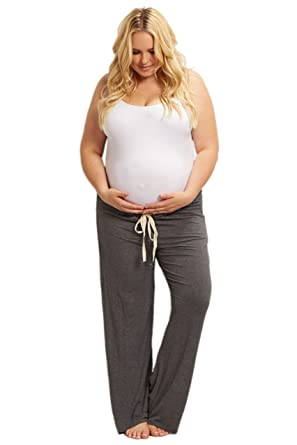 9435b4c483b2f PinkBlush Maternity Charcoal Drawstring Plus Size Pajama Pants at Amazon Women s  Clothing store