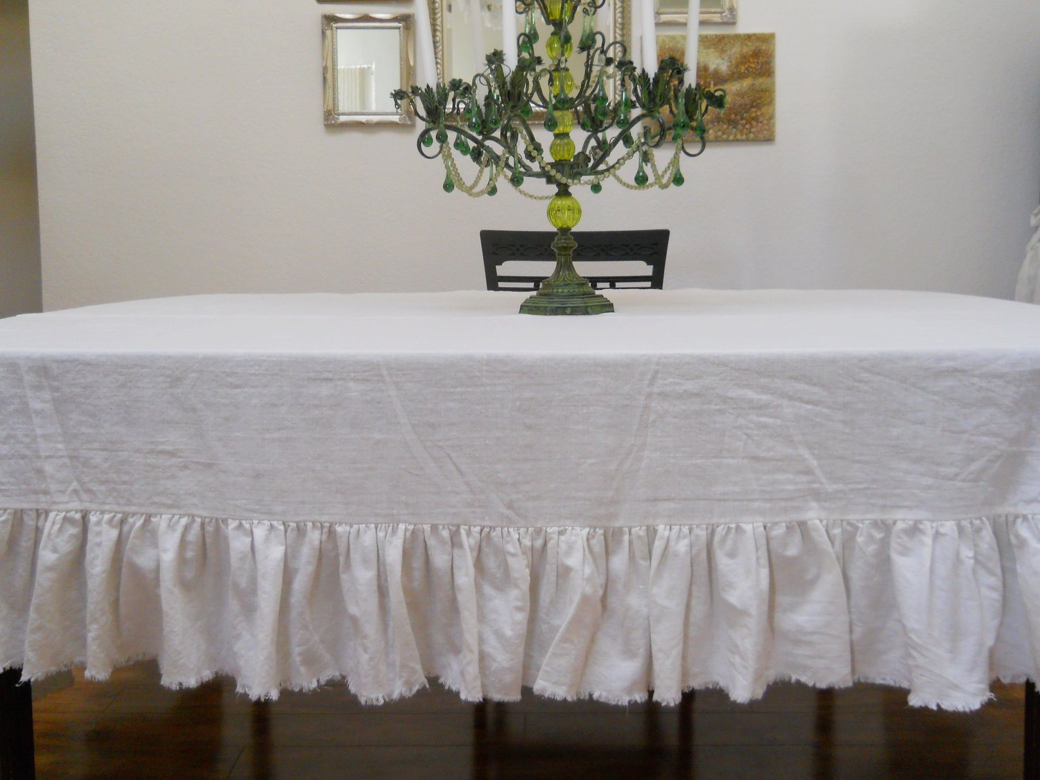 Amazon.com: Off White Linen Table Cloth (With Frayed Ruffle): Home U0026 Kitchen