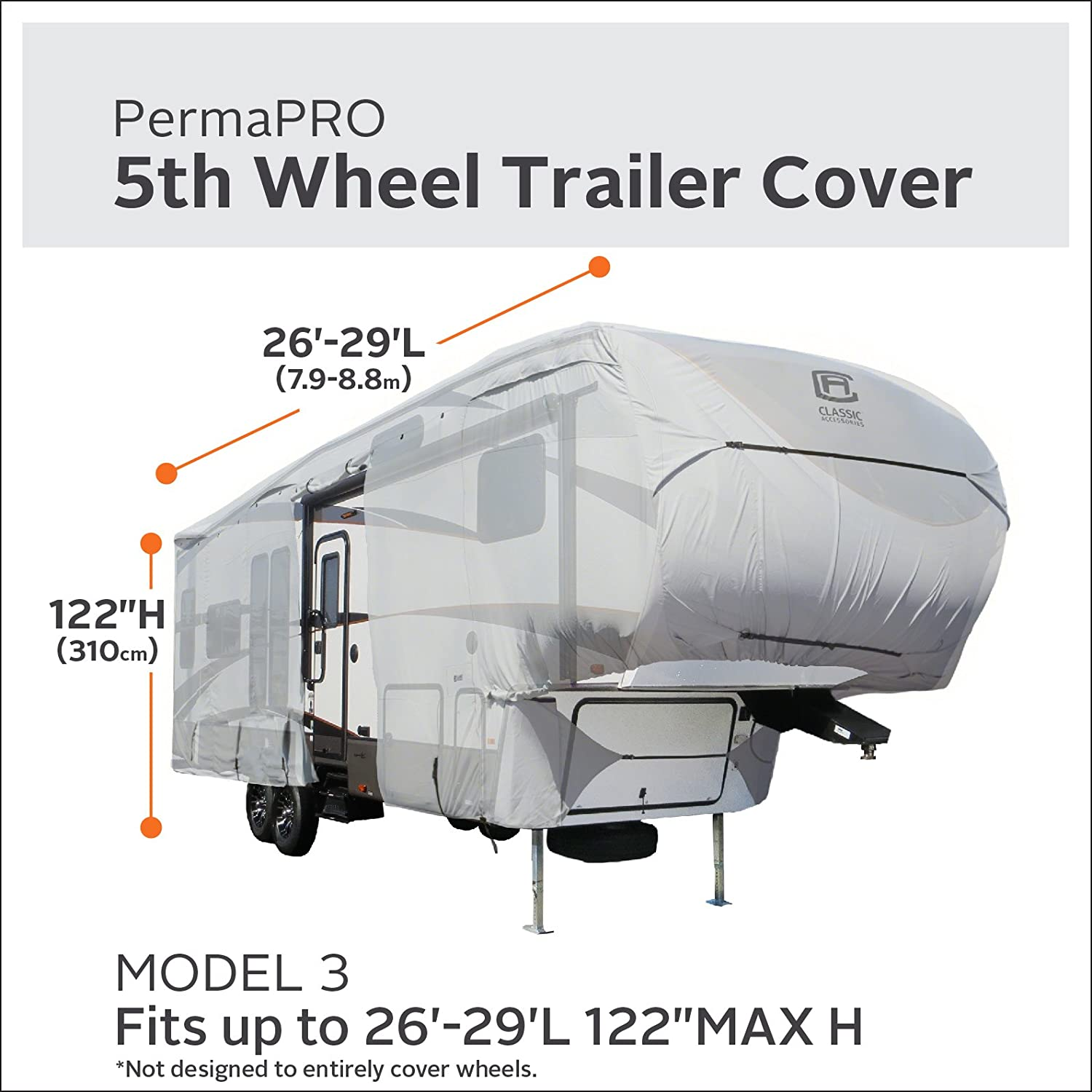 Classic Accessories OverDrive PermaPro Heavy Duty Cover for 29 to 33 5th Wheel Trailers