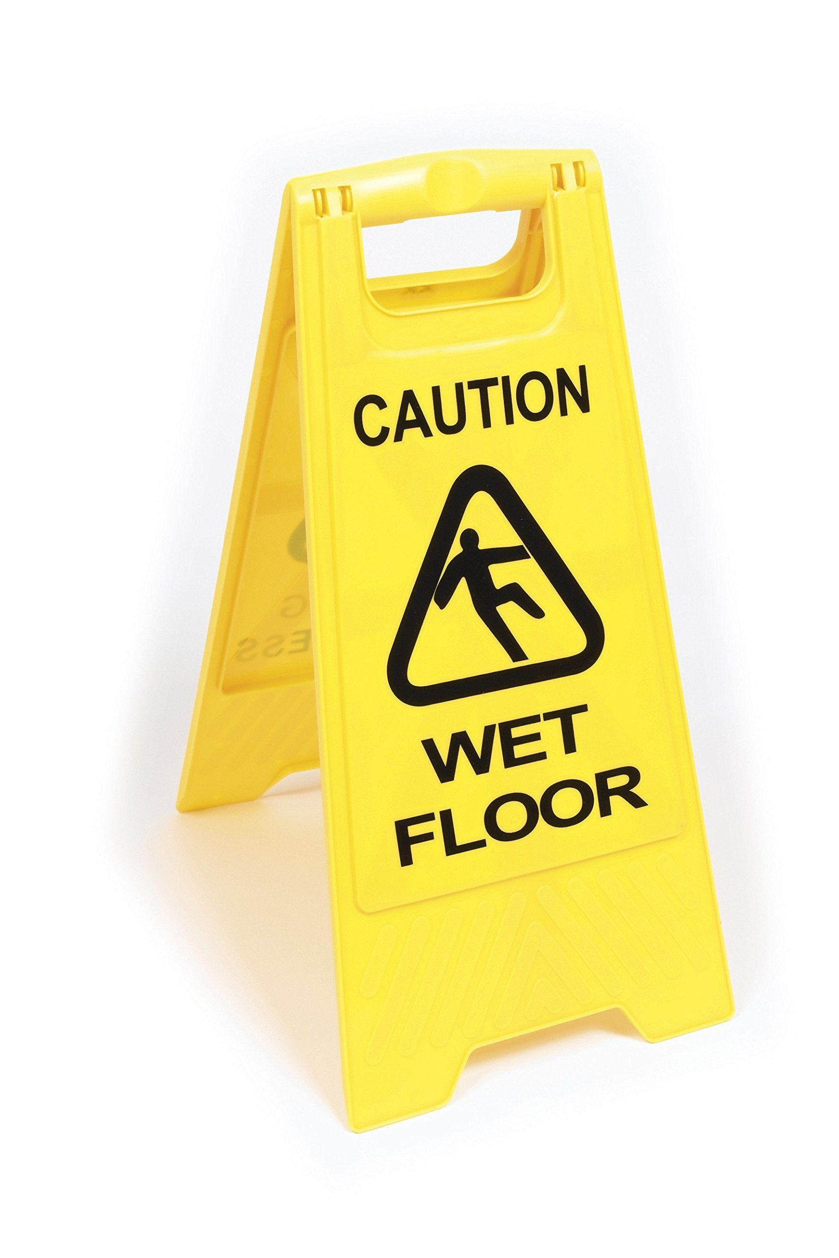 YEX 2-Sided Fold-Out Floor Safety Sign Caution Wet Floor Floor Warning Sign Plastic Folding Sign, Yellow by Dozili