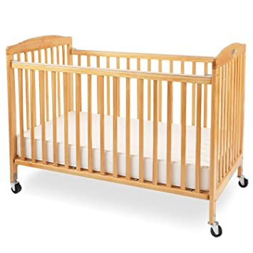 Charmant LA Baby The Full Size Wood Folding Crib, Natural