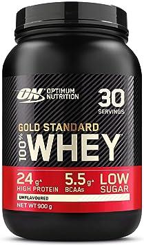 Optimum Nutrition Gold Standard 100% Whey Proteína en Polvo, Glutamina y Aminoácidos Naturales, BCAA, Sin Sabor, 30 Porciones, 900g, Embalaje Puede ...