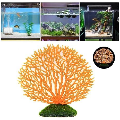 Petacc Artificial Coral Plant Rubber Pecera Coral Decoration Ornamento del acuario que brilla intensamente, anaranjado