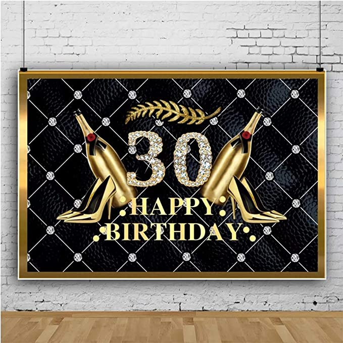 10x8ft Happy 30th Birthday Backdrop Vinyl Sofa Leather Photography Background Golden High Heels Champagne Diamonds Women Thirty Year Old Birthday Party Backdrop Photo Studio Banner