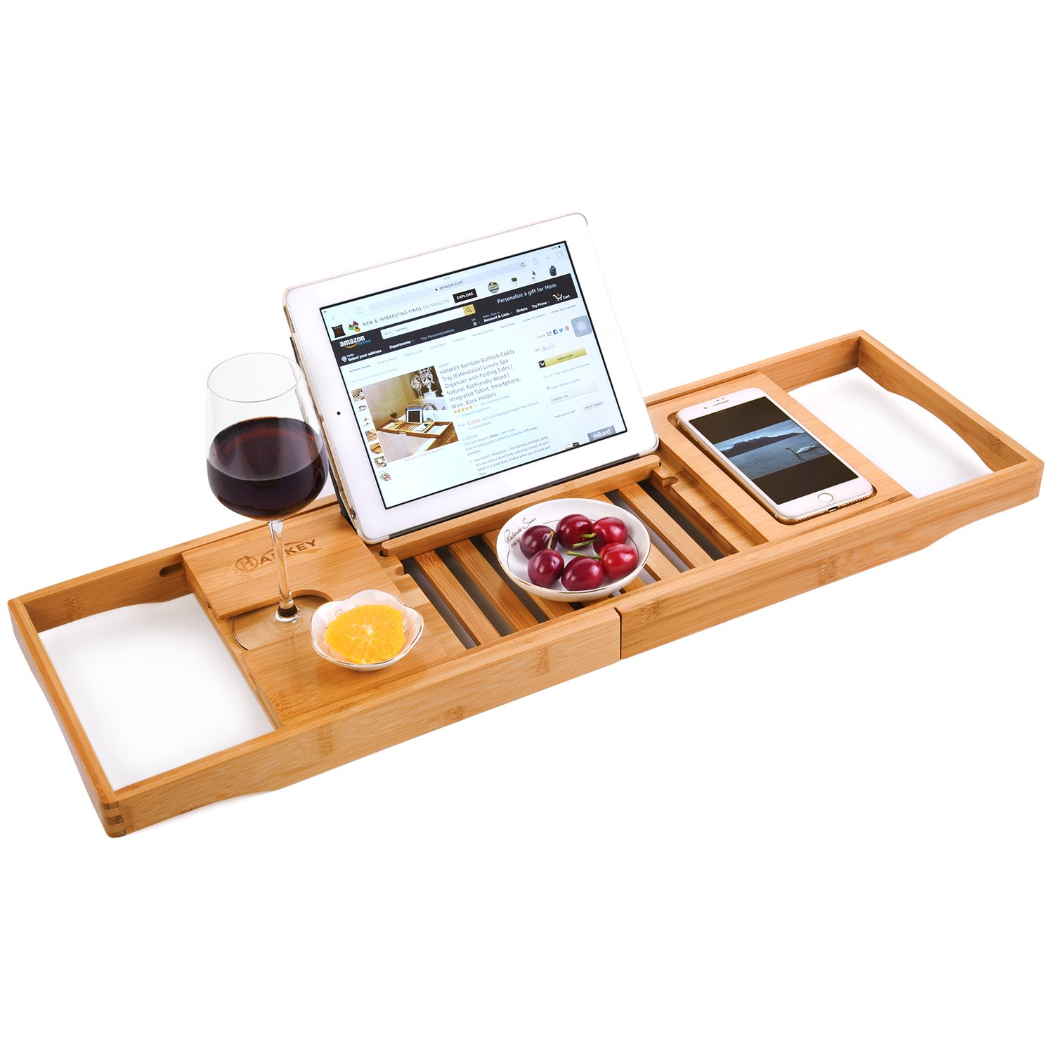HANKEY Bamboo Bathtub Caddy Tray (Extendable) Luxury Spa Organizer with Folding Sides | Natural, Ecofriendly Wood | Integrated Tablet, Smartphone, Wine, Book Holders