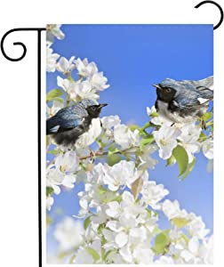 """ShineSnow Spring Birds Perching Apple White Flowers Blossom Tree Seasonal Garden Yard Flag 12""""x 18"""" Double Sided Polyester Welcome House Flag Banners for Patio Lawn Outdoor Home Decor"""