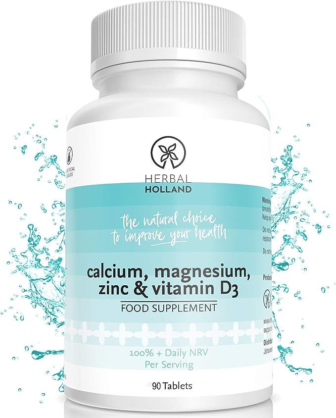 Suplemento Herbal Holland de calcio, magnesio, zinc y vitamina D3 para hombre y mujer: potentes suplementos de vegetarianos con vitamina D3 para unos huesos y sistema de salud fuertes, 90 tabletas: Amazon.es: