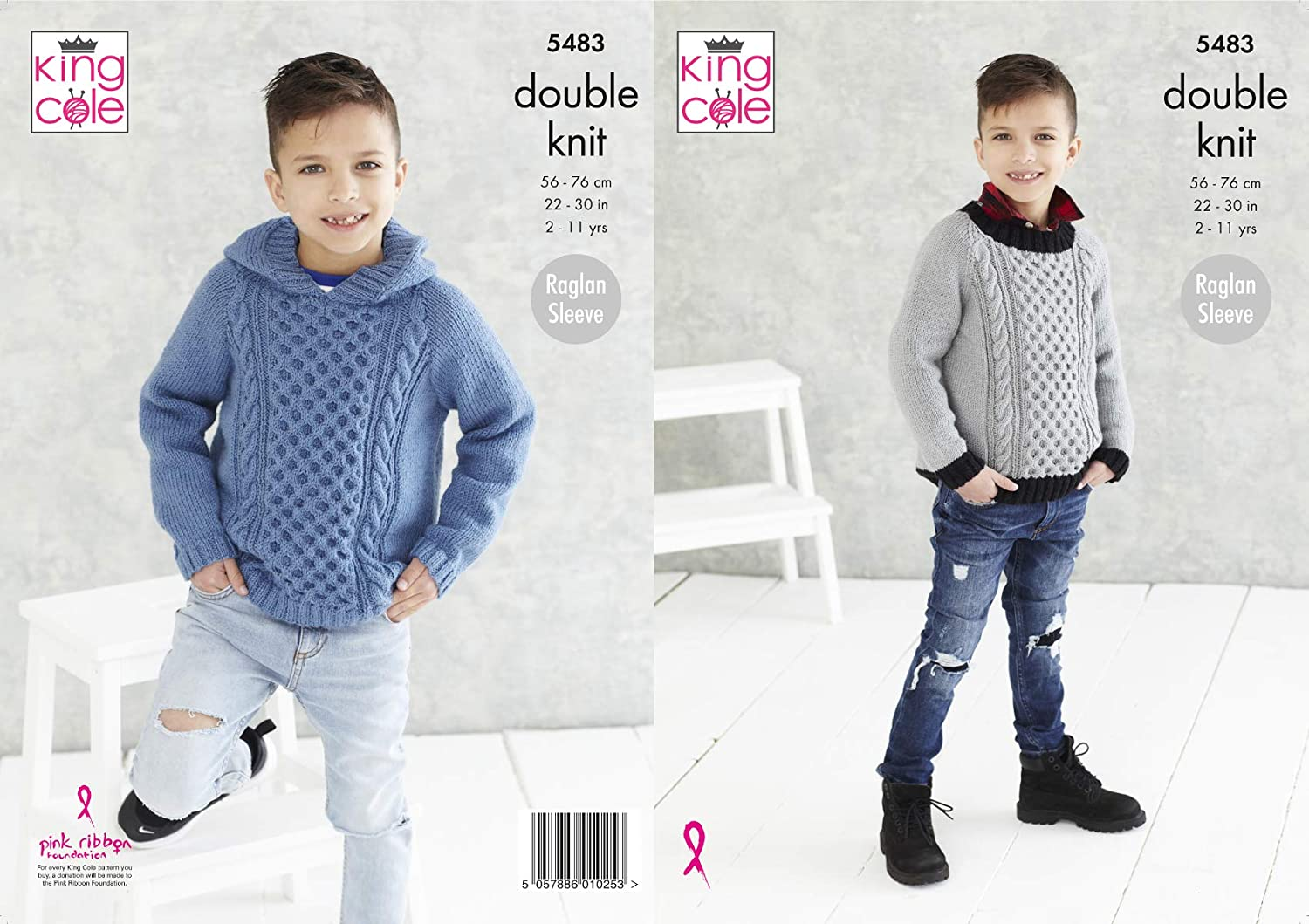 King Cole Boys Double Knitting Pattern Raglan Sleeve Round Neck or Hooded Sweater 5483