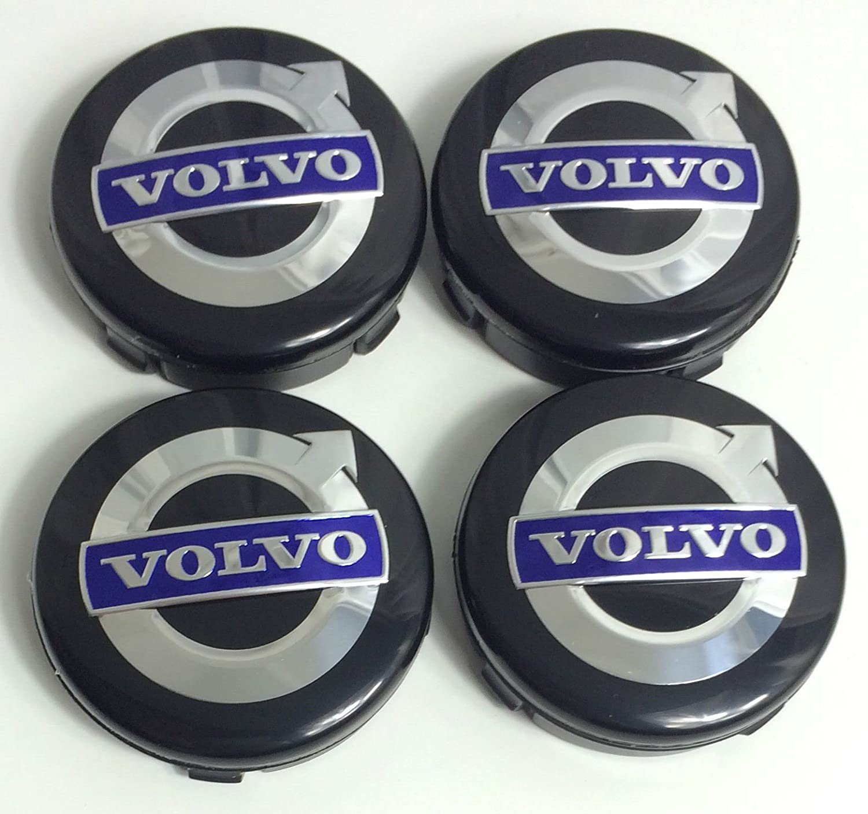 4 x Volvo Alloy ruedas Centro Hub Caps 64 mm Negro/Azul C70 S60 V60 V70 S80 XC90: Amazon.es: Coche y moto
